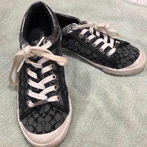 Authentic coach sneakers size 7 black and grey.